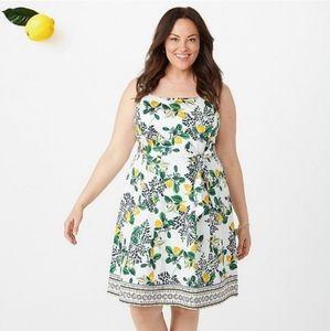 Roz & Ali sleeveless lemon dress